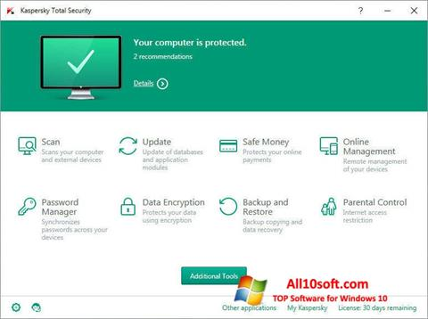 Captura de pantalla Kaspersky Total Security para Windows 10