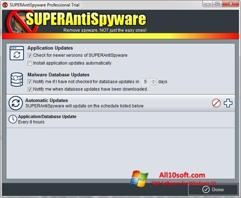 Captura de pantalla SUPERAntiSpyware para Windows 10
