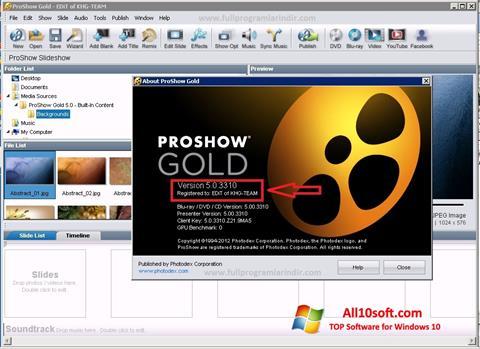 Captura de pantalla ProShow Gold para Windows 10
