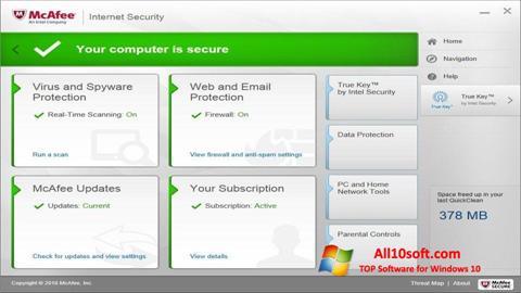 Captura de pantalla McAfee para Windows 10