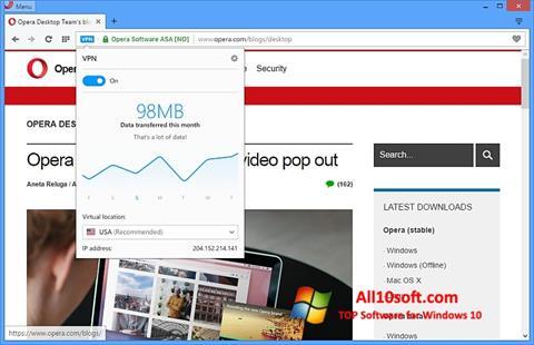 Captura de pantalla Opera para Windows 10