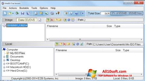 Captura de pantalla UltraISO para Windows 10