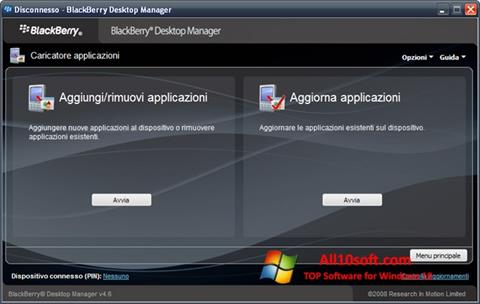 Captura de pantalla BlackBerry Desktop Manager para Windows 10