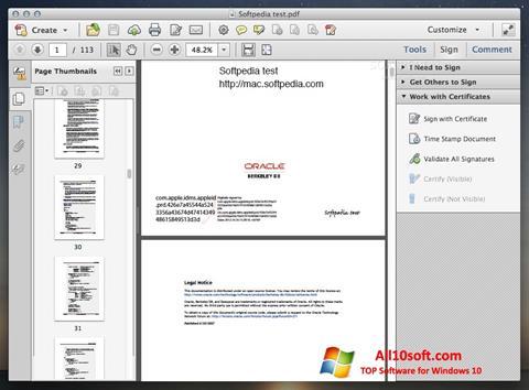Captura de pantalla Adobe Acrobat para Windows 10