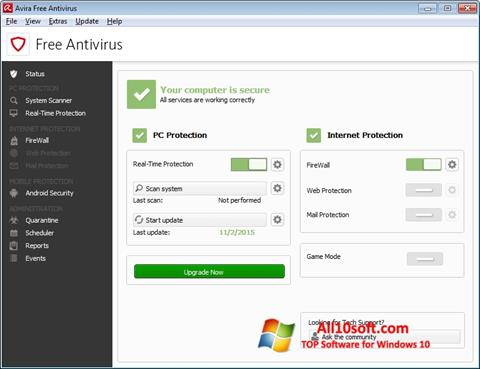Captura de pantalla Avira Free Antivirus para Windows 10