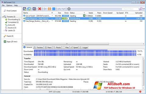 Captura de pantalla BitTorrent para Windows 10