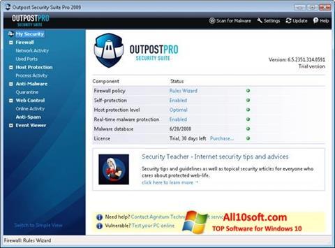 Captura de pantalla Outpost Security Suite PRO para Windows 10