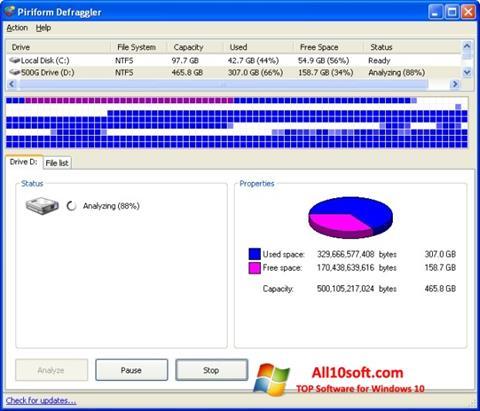 Captura de pantalla Defraggler para Windows 10