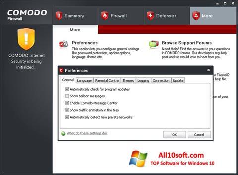 Captura de pantalla Comodo Firewall para Windows 10