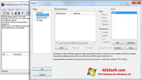 Captura de pantalla FileZilla Server para Windows 10