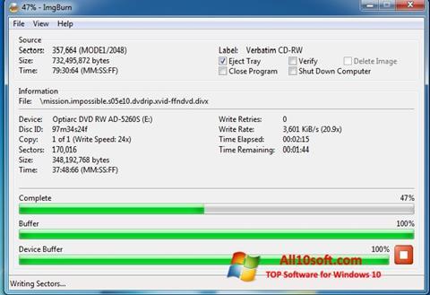 Captura de pantalla ImgBurn para Windows 10