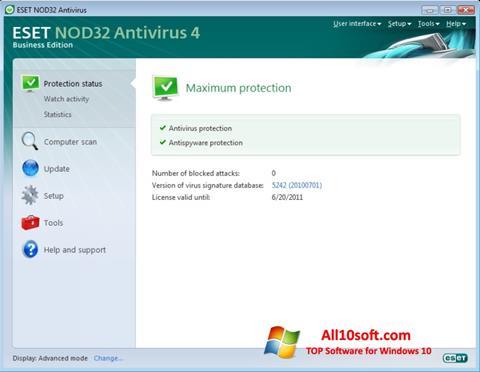Captura de pantalla ESET NOD32 para Windows 10